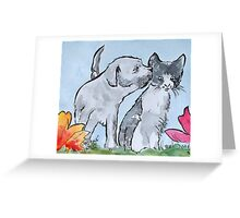 Good Friends 3 - cat and dog Greeting Card