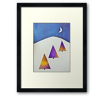 Three Trees Lilac and Yellow Framed Print