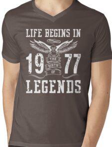 Life Begins In 1977 Birth Legends Mens V-Neck T-Shirt