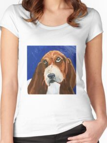 Sweet Basset Hound on Blue Women's Fitted Scoop T-Shirt