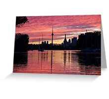 Fiery Sunset - Downtown Toronto Skyline with Sailboats Greeting Card