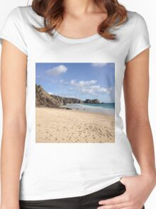 Porthcurno beach Women's Fitted Scoop T-Shirt
