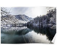 first snow at the mountain lake Poster
