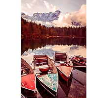Autumn morning at the alpine lake Photographic Print