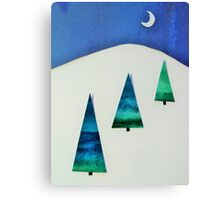 Three Trees Blue and Green Canvas Print