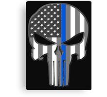 American Skull Thin Blue Line  Canvas Print