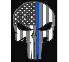 American Skull Thin Blue Line  Photographic Print