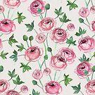 Painted Pink Ranunculus Pattern by micklyn