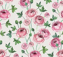 Painted Pink Ranunculus Pattern by micklyn