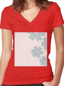 Elegance winter design with abstract mandala ornament Women's Fitted V-Neck T-Shirt