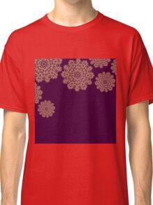 Golden mandala ornaments on purple  Classic T-Shirt