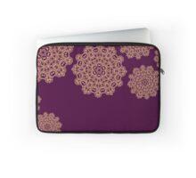 Golden mandala ornaments on purple  Laptop Sleeve