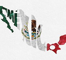 Mexico Typographic Map Flag by A. TW