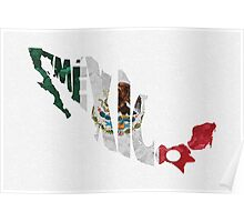 Mexico Typographic Map Flag Poster
