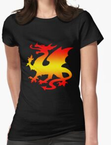 Hot Fire Dragon Design Womens Fitted T-Shirt