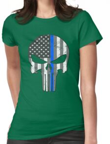 American Skull Thin Blue Line BW  Womens Fitted T-Shirt