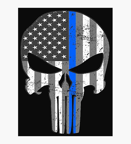 American Skull Thin Blue Line BW  Photographic Print