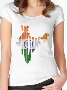 India Typographic Map Flag Women's Fitted Scoop T-Shirt