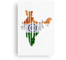 India Typographic Map Flag Metal Print