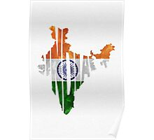 India Typographic Map Flag Poster