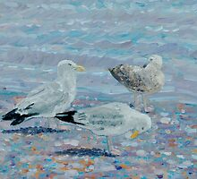Seagulls on the beach. by Antony R James