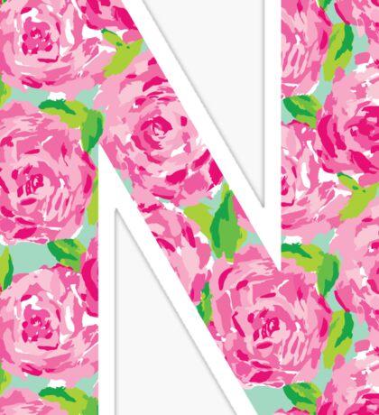 """N"" Rose Letter Sticker"