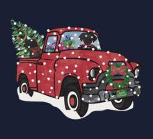 Black Labs Christmas Red Truck Kids Tee