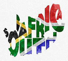 South Africa Typographic Map Flag by A. TW
