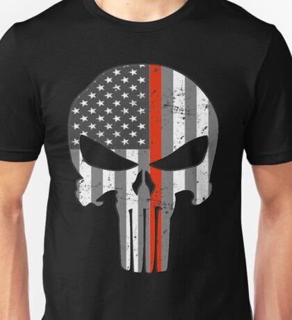 American Skull Thin Red Line BW  Unisex T-Shirt