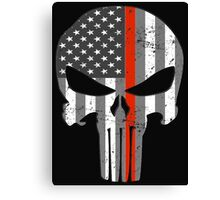 American Skull Thin Red Line BW  Canvas Print