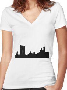 Marseilles skyline Women's Fitted V-Neck T-Shirt