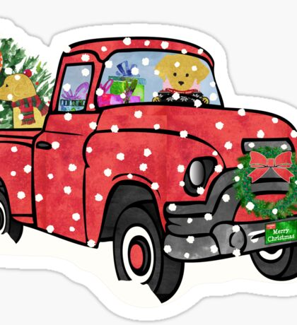 Yellow Labs Christmas Red Truck Sticker