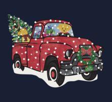 Golden Retrievers Christmas Red Truck One Piece - Short Sleeve