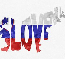 Slovenia Typographic Map Flag by A. TW