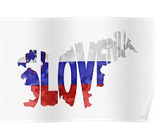 Slovenia Typographic Map Flag Poster