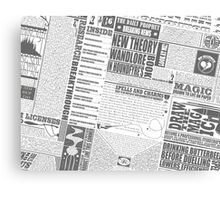 Wizarding Newspaper during Coffee (black&white) Canvas Print
