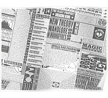 Wizarding Newspaper during Coffee (black&white) Poster
