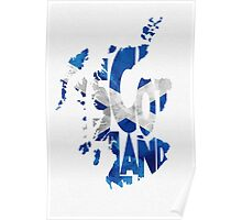 Scotland Typographic Map Flag Poster