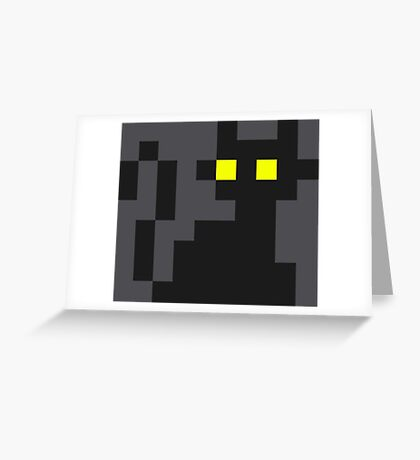Mini Pixel Black Cat Greeting Card