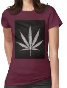 Cannabis Leaf Print  Womens Fitted T-Shirt