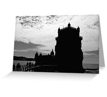 Black White Belem Tower Silhouette 2 | Torre Belem Greeting Card