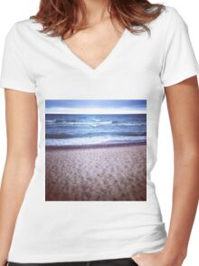 Stormy Lake Superior Shore Women's Fitted V-Neck T-Shirt