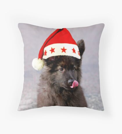 German Shepherd Dog Christmas Hat Throw Pillow
