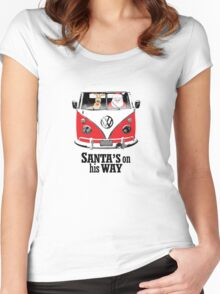 VW Camper Santa Father Christmas On Way Red Women's Fitted Scoop T-Shirt