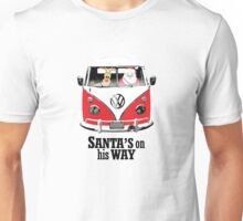 VW Camper Santa Father Christmas On Way Red Unisex T-Shirt