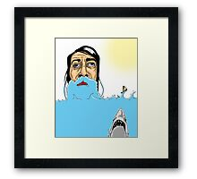 Jaws, a bearded guy and a fat man in a motorboat Framed Print
