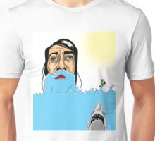 Jaws, a bearded guy and a fat man in a motorboat Unisex T-Shirt