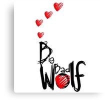 Big Bad Wolf Howling Hearts Canvas Print