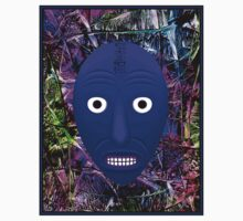 AFRICAN 3D ABSTRACT; Witch Doctor Mask Print Kids Tee