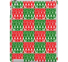 Red, White and Green Christmas Nordic Knit Checkered Fair Isle Pattern iPad Case/Skin